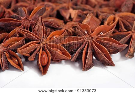 Star Anise On A White