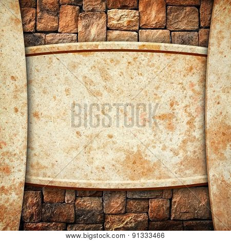 stone wall with marble template