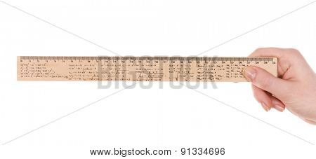 Female hand with wooden ruler isolated on white