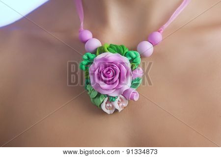 Romantic Style: Fashion Studio Shot Of A Floral Rose Necklace (jewelery Made Of Polymer Clay)