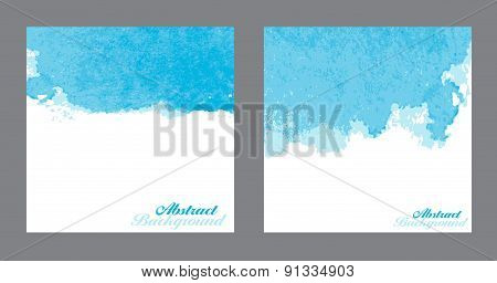 Blue Abstract Watercolor Paint Splashes Illustration. Vector Bac