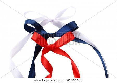 Bows of colorful ribbons isolated on white