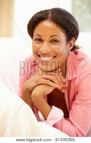 Mixed race woman at home