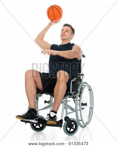 Handicapped Basketball Player Throwing Ball