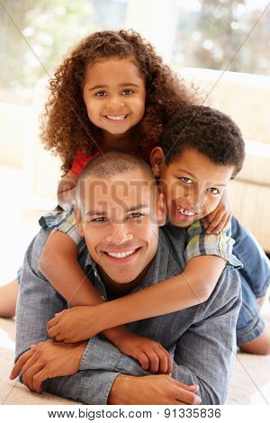 Father and children at home