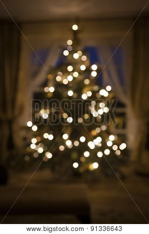 Christmas Tree Infront Of French Doors