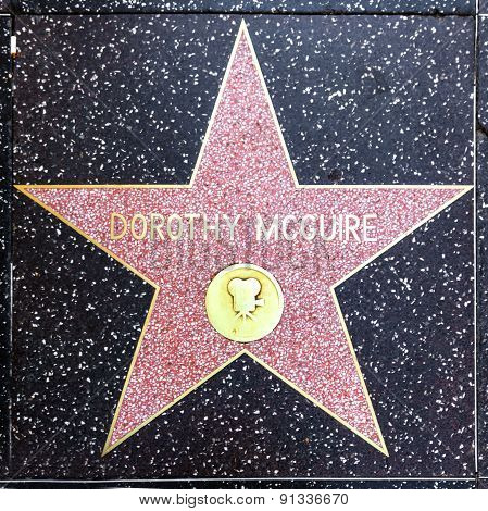 Dorothy Mcguires Star On Hollywood Walk Of Fame