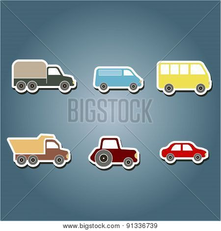 set of color icons with car icons