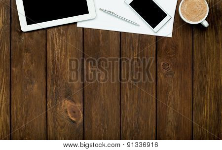 Smartphone, Tablet, Coffee And Paper