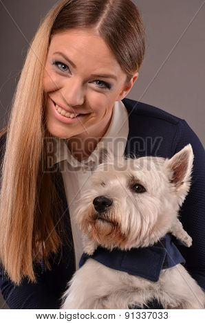 Smiling Girl And Westie Dog