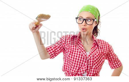 Surprised Woman Holding Paint Brush, Girl Ready For Renovating Or Painting, Isolated On White