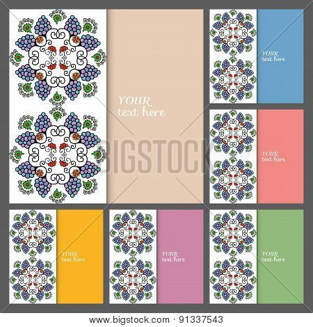 Wedding invitation or greeting cards collection design with floral pattern, ornamental vector illust