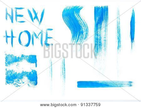 Blue Colors Roller Brush Strokes For Yours Concepts, Isolated On White Background