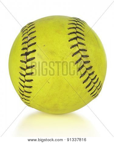 Softball or baseball ball isolated on white background