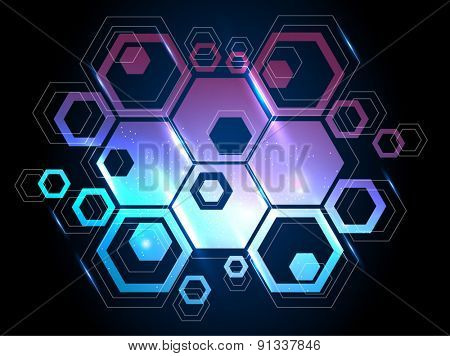 vector background with honeycomb