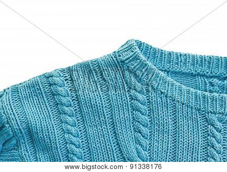 Knitted sweater collar close up on white