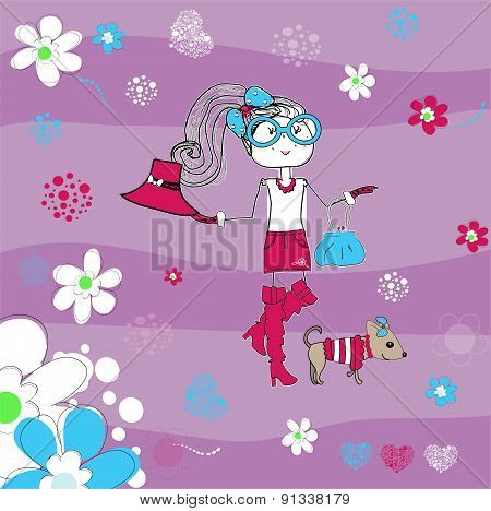 Pretty Girl On Striped Background, T-shirt Design Vector Illustration