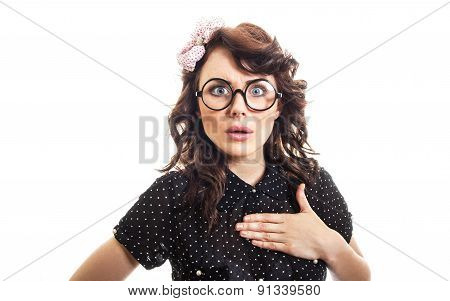 Amazedly Young Woman Isolated On White. Surprised Or Astonished Funny Girl