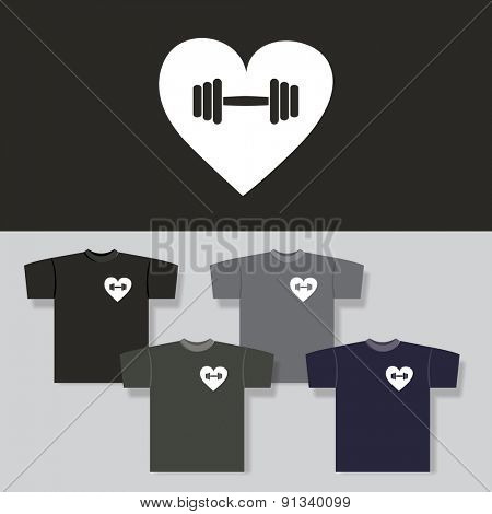 T-shirt Print with Heart and Dumbbell Pattern - Backgrounds in Different Colors