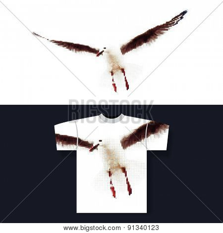 T-shirt Print with Halftone Background: Seagull
