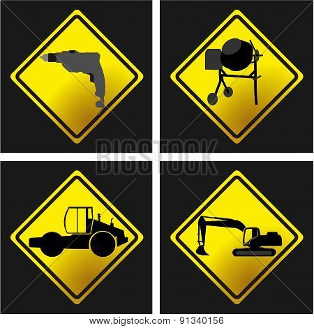 Four Under Construction Signs