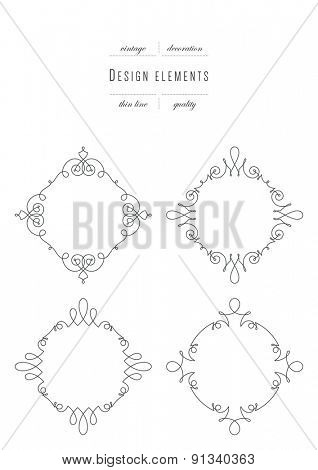 Monogram emblem template. Luxury elegant frame ornament line logo design vector illustration