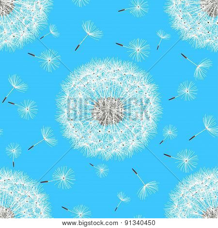 Seamless Pattern With Spring Flowers Dandelions
