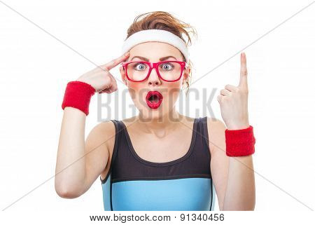Surprised Fitness Woman Gesturing Finger Up, Funny Sport Girl Have Idea
