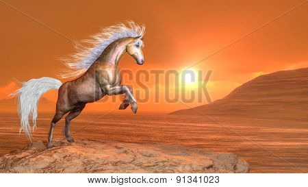 Horse rearing by sunset - 3D render