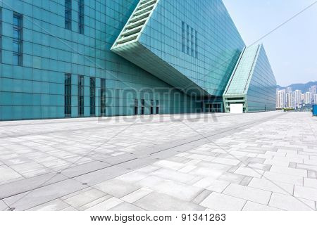 Empty floor in front of modern building