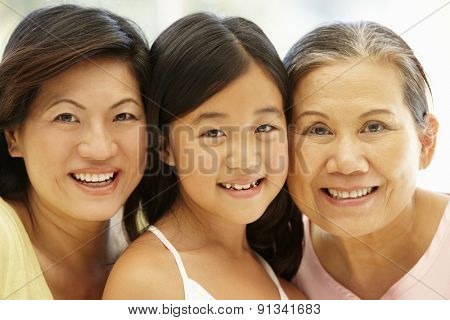 Asian mother,daughter and grandmother
