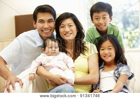 Asian family with baby