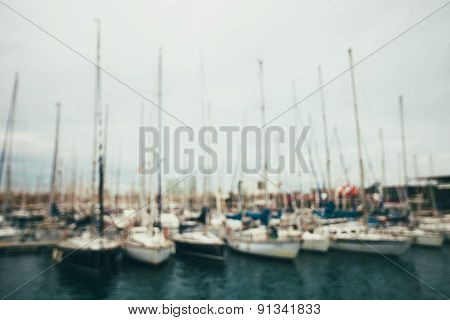 Blurred background of the yachts