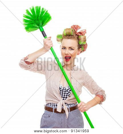 Funny Housewife With Broom, Isolated On White. Close Up Domestic Woman