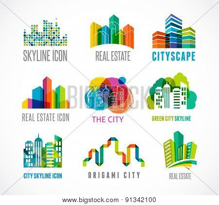 Colorful real estate, city and skyline icons, vector illustrations