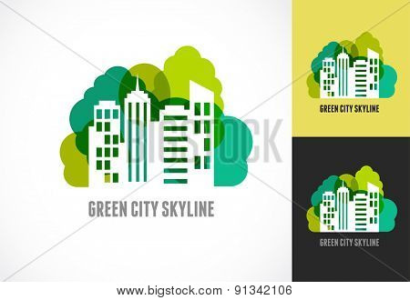 Colorful real estate, city and skyline icon, vector illustration