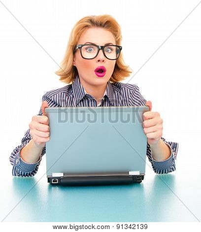 Close-up Of Surprised Business Woman With Laptop, Isolated On White