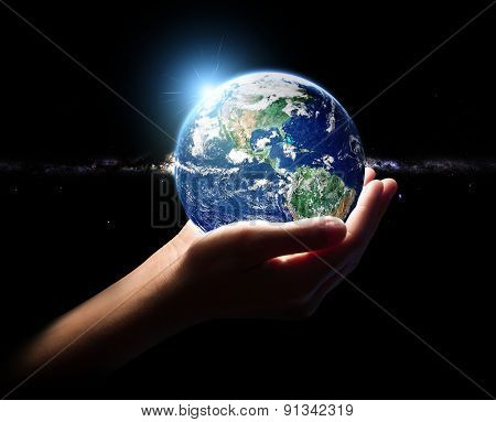 Hand Hold Earth In Universe Environment Concept Element Fini