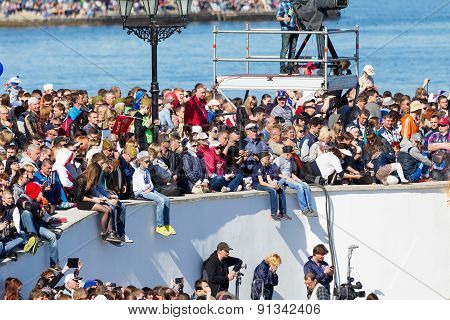 Sevastopol, Crimea - May 9, 2015: Vesevastopol, Crimea - May 9, 2015: Parade On The Waterfront In Ho