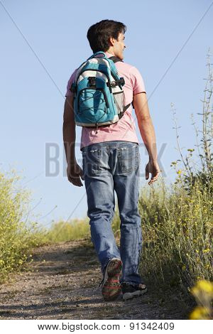 Man on country walk