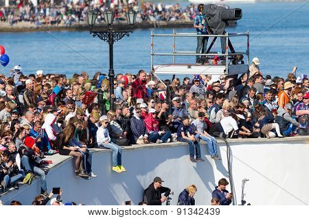 Sevastopol, Crimea - May 9, 2015: Parade On The Waterfront In Honor Of The 70Th Anniversary Of Victo