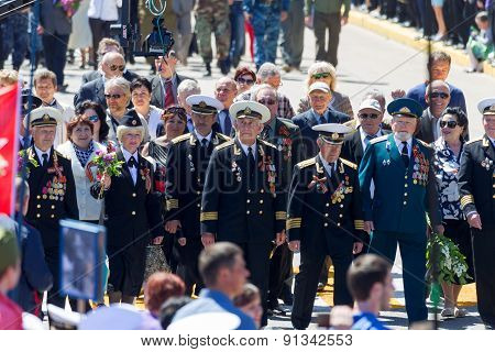Sevastopol, Crimea - May 9, 2015: Veterans At The Parade In Honor Of The 70Th Anniversary Of Victory
