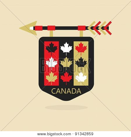 Canada medieval emblem with leaves pattern
