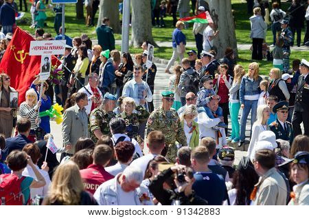 Sevastopol, Crimea - May 9, 2015: People Are Columns On Parade In Honor Of The 70Th Anniversary Of V