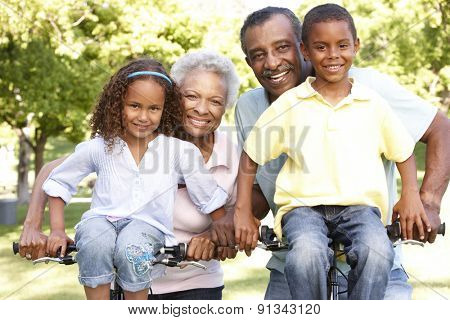 African American Grandparents With Grandchildren Cycling In Park