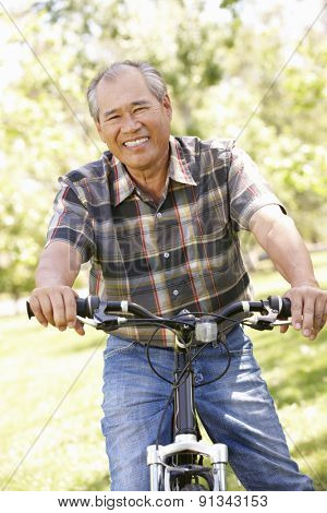 Senior Asian man riding bike in park
