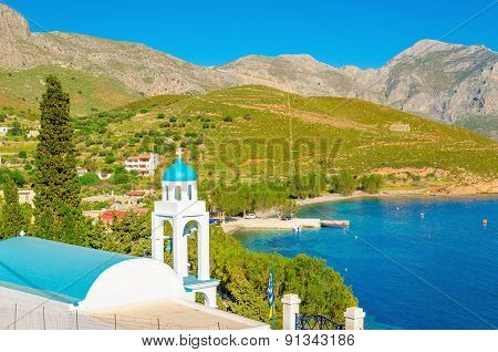 Blue dome of Greek church on islands, Greece