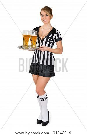 Referee Holding Tray With Beer
