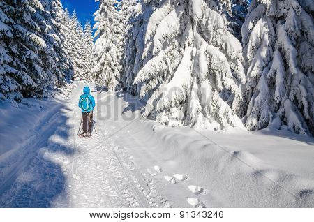Woman in blue jacket on winter hiking trail