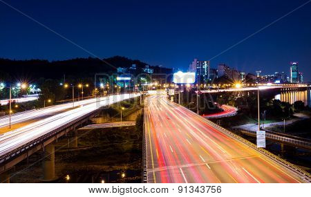 Busy traffic in Seoul